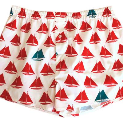 Birch fabrics Boxershorts Set Sail Red erna&gustav