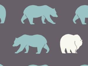 Bild des Designs von Birch Fabrcis Bear Hike Shadow Mint und Weißfarbene Bären auf grauem Grund
