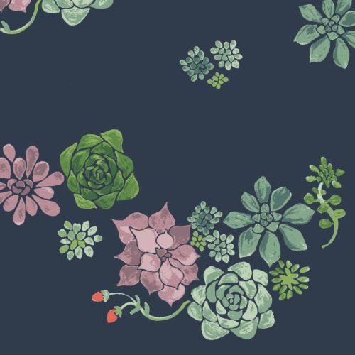 Monaluna Desert Flower GOTS Bio Baumwolle Stoffmuster Dunkelblau