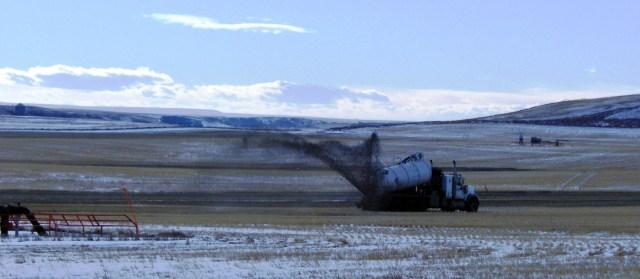 EnCana waste dumping from deviated drilling at 14-12-27-22 W4M near Hamlet of Rosebud November 2012