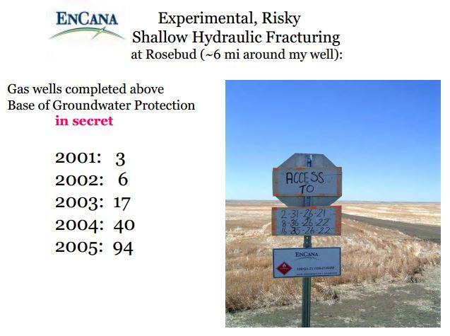 2001 EnCana's shallow frac experiment at Rosebud begins Snap