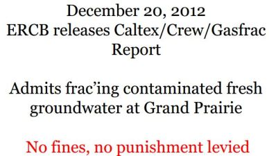2012 12 20 ERCB now AER releases report admitting deep frac'ing contaminated groundwater at Grand Prairie Alberta