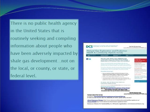 2013 09 Dr. Larysa Dyrszka presentation in Ukraine No public health agency compiling health impacts from fracing