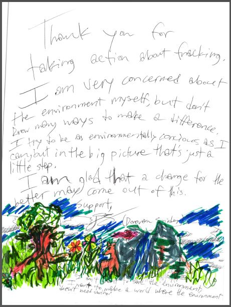 2014 11 Donovan Snider, 11 years old, Rosebud Hamlet, card to Ernst snap