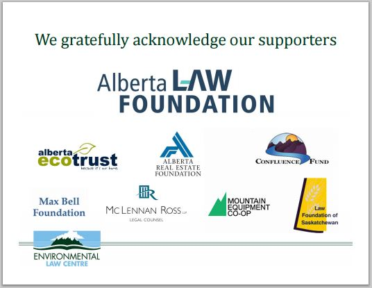 2014 Ab Environmental Law Centre Green Regs & Ham supporters, mclennan ross law firm, etc