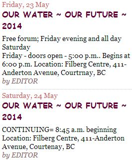 2014 05 23 24 Our water our future Vancouver Island Water Watch Coalition