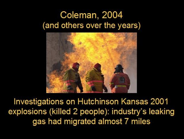 2004 Coleman Research proves industry's leaking gas migrated almost 7 miles killing two people at Hutchinson explosions in 2001