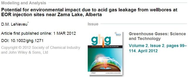 2012 04 D M LeNeveu Potential for environmental impact due to acid gas leakage from wellbores at EOR injection sites near Zama Lake, Alberta