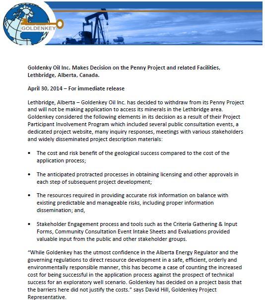 2014 04 30 Huge POWER OF NO victory for City of Lethbridge Alberta Goldken Key drops lease