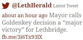 2014 05 01 Major Victory says Mayor of Lethbridge tweet