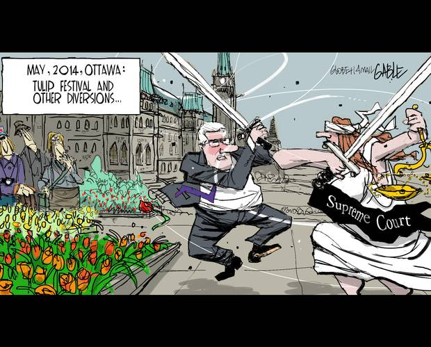2014 05 Globe and Mail Gable Cartoon Harper fights the Supreme Court of Canada
