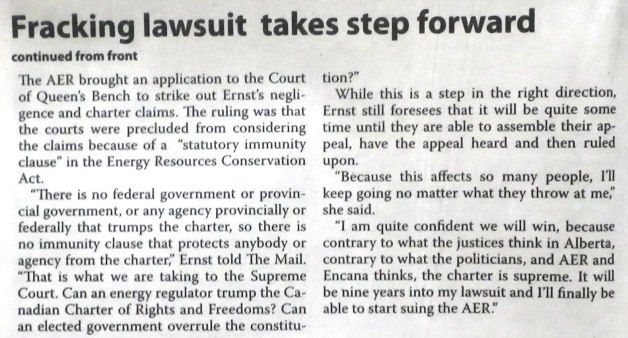 2015 05 06 Drumheller Mail Pg 3, Supreme Court Rosebud Fracking Appeal, 'It will be nine years into my lawsuit and I'll finally be able to start suing the AER'