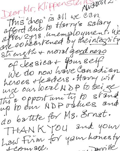 2015 08 10 donation note from 91 year old Canadian, Harry will urge NPD to do battle for Ernst
