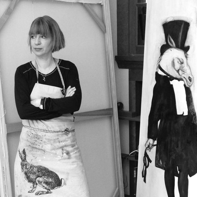 2015 Canadian Artist Marianna Gartner working in her studio