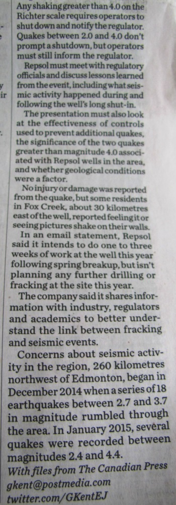 2016 04 07 AER allows Repsol to resume fracking after 4.8M world record frac quake shakes Fox Creek & St. Albert, Repsol appears too shaken to resume3
