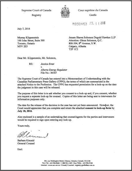 2016 07 07 Supreme Court of Canada letter Parliamentary Press Gallery media lock-up request for ruling in Ernst vs AER
