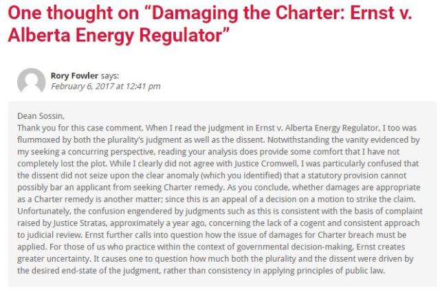 2017 02 06 comment by Rory Fowler to Dean Lorne Sossin's post 'Damaging the Charter' on Ernst losing at SCC