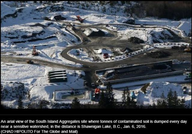 2017 02 24 Globe and Mail photo, Shawnigan Lake toxic dump