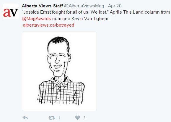 2017 04 Alberta Views Tweet, Kevin Van Tighem's 'Betrayed.' 'Jessica Ernst fought for all of us. We lost.'