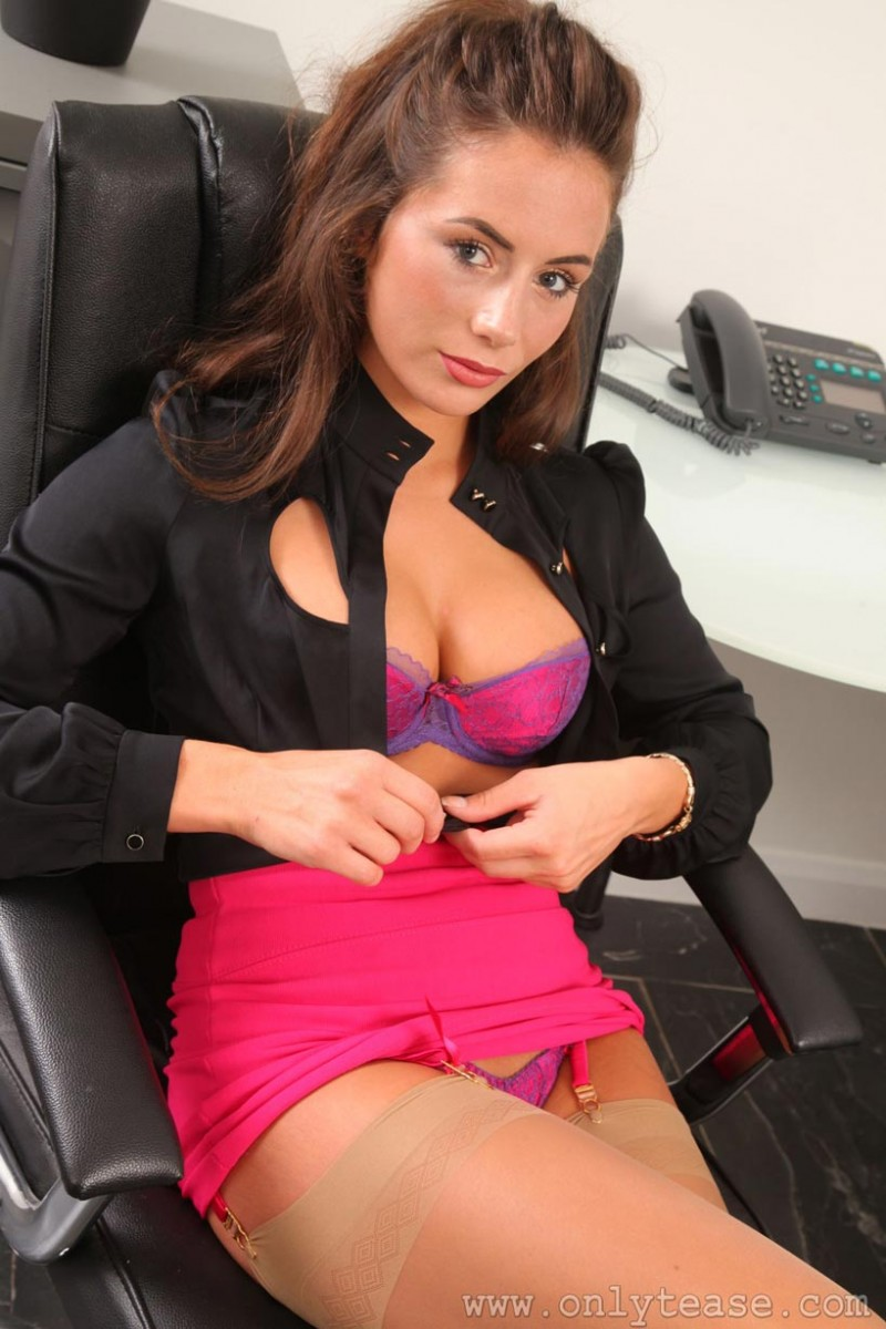 Laura Hollyman Strips at her Desk