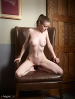 Emily Bloom #Naked In A Leather Chair 1