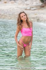 Blonde sweetie Katya Clover posing naked and wet at the beach 1