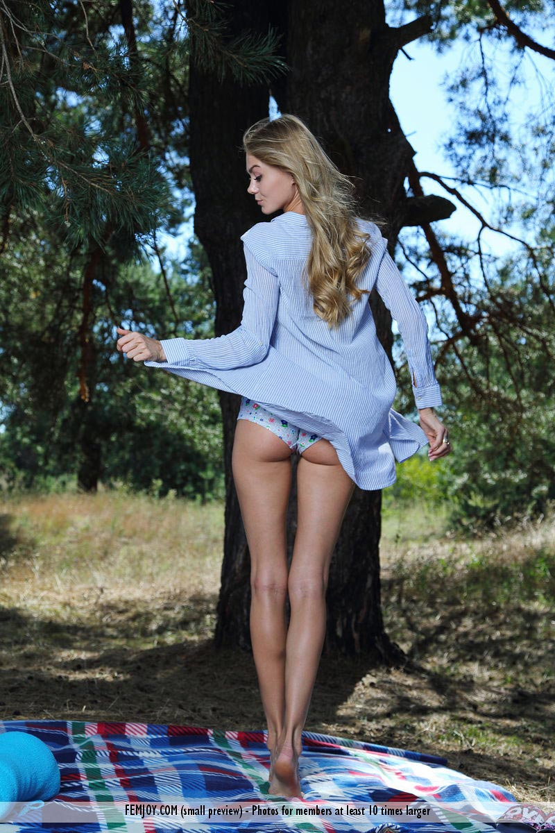 Long legged Euro Nancy posing naked in the woods - wet pink pussy 2