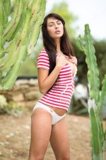 Dreamy natural brunette Yarina A Stripping Outdoors 1