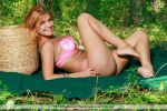 Femjoy - Horny babe Dina P takes off her pink lingerie in the woods 2