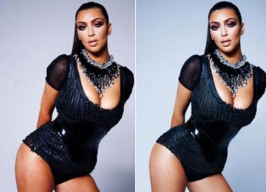 Kim Kardashian prima e dopo il ritocco con photoshop