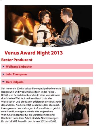 Helga Unterwasser  Nominierung Venus Award 2013