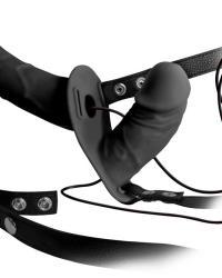 Strap-On Duo Vibračný silikónový pripínací penis - čierny