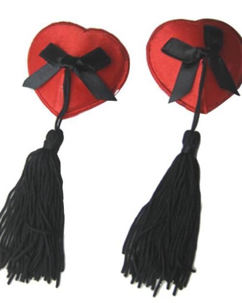 Wanita ozdoby na bradavky srdce so strapcami červené