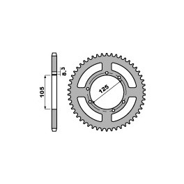 Steel Rear Sprocket Derbi 125 Cross city, DRD, Mulhacen