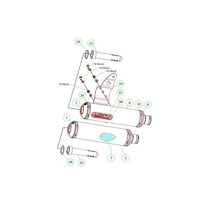 Coppia terminali di scarico Arrow Round-sil omologati in
