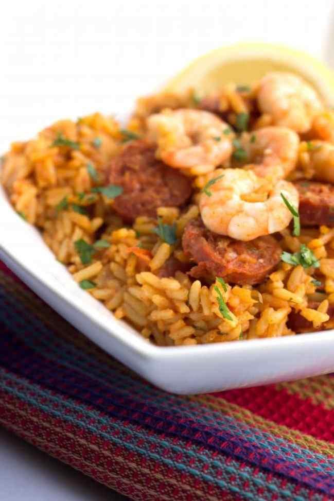 Easy dinner ideas, simple dinner ideas, one pot shrimp and chorizo rice