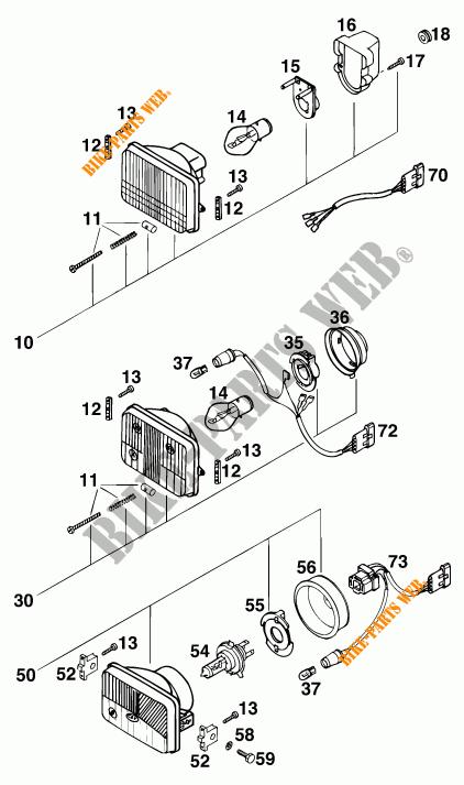 SCHEINWERFER / RÜCKLICHT für KTM 300 EXC 2000 # KTM