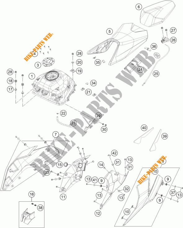 TANK / SITZBANK für KTM 390 DUKE ORANGE 2018 # KTM