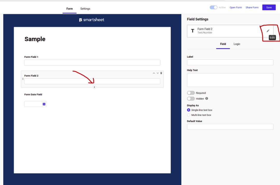 Edit Smart Sheet fields