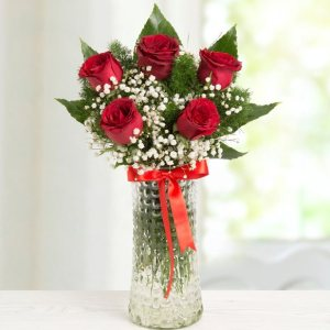 kırmızı gül silindir vazo