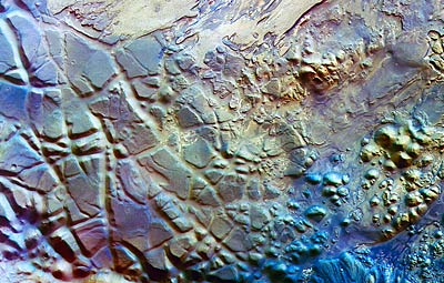 Aram Chaos, false colour, north to the right