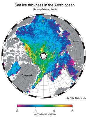 Arctic sea-ice thickness 2011
