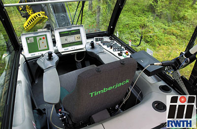The Precision Forestry Positioning System developed at RWTH Aachen University guides the harvester to the next tree to cut. Click to view bigger version. Credit: RWTH Aachen University