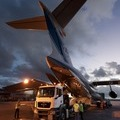 Lorry lined up with Galileo transport aircraft