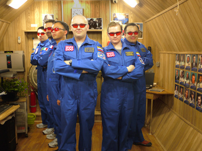 Mars500 crew with red goggles
