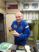 Having a lunch in Space Station mockup