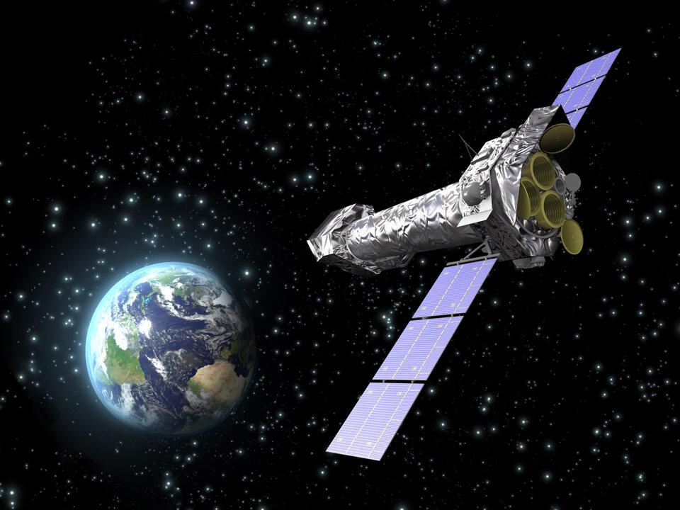Impressão artística do observatório espacial XMM-Newton da ESA