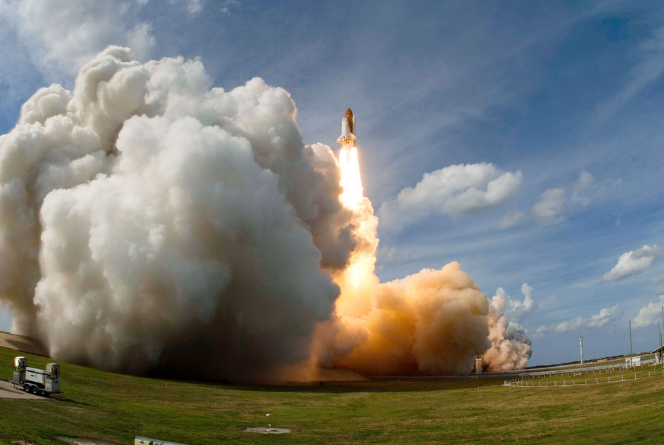 Columbus launched onboard Space Shuttle Atlantis