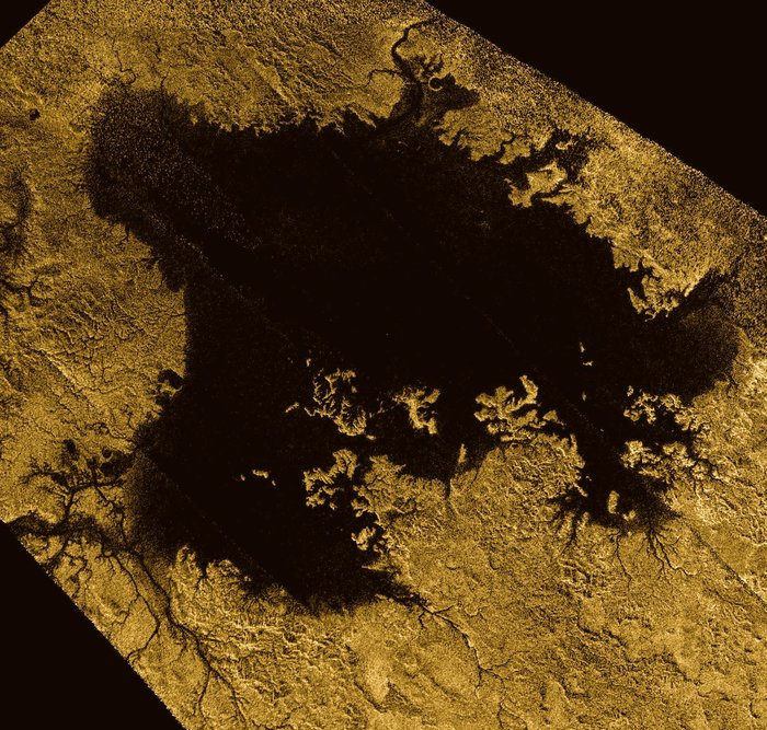 Ligeia Mare, shown here in a false-colour image from the international Cassini mission, is the second largest known body of liquid on Saturn's moon Titan. It measures roughly 420 km x 350 km and its shorelines extend for over 3,000 km. It is filled with liquid methane.