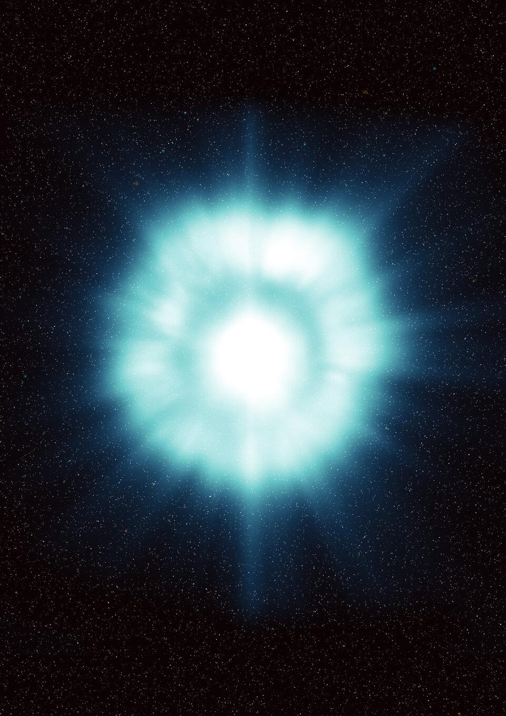 Impressão artística de uma explosão de raios gama